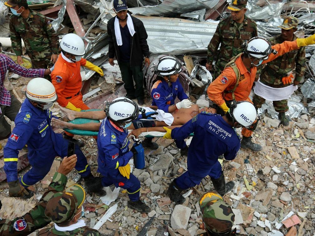 柬埔寨建筑倒塌事故致28人死 柬将审查中国建筑项目[图集]